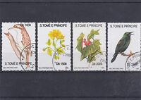 SAINT THOMAS ET PRINCE 1992 OISEAUX FLEURS 4 TIMBRES OBLITERES YT 1139 A 1142