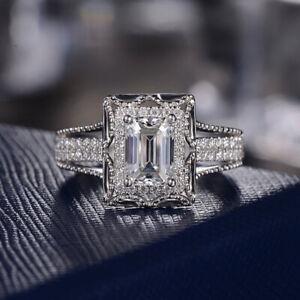 Fashion Women's 925 Silver Square White Sapphire Wedding Jewelry Rings Size6-10