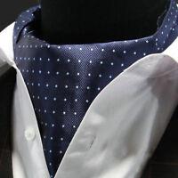 Premium Navy Blue Mini Polka Dot Mens Silk Cravat Scarf Ascot Tie A55