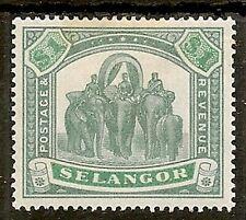 MALAYA SELANGOR 1895 $1 ELEPHANT SG61 MINT