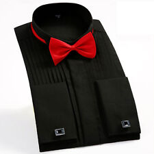 Mens Long Sleeves Suit Dress Shirts Cotton Formal Prom Tuxedo Tops Show Business
