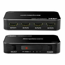 Simplecom CM324 4 Port 4k HDMI 2.0 Switch with IR Remote