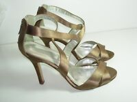 WOMENS BROWN TAUPE SATIN WEDDING SANDALS STRAPPY HIGH HEELS SHOES SIZE 7.5 M