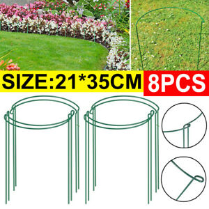 8PCS Round Metal Plant Supports Stake For Peonies Hydrangea Strong Metal Garden