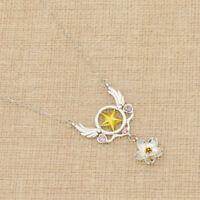 Anime Cardcaptor Sakura Star Wings Necklace Silver Chain Cosplay Women Gift