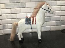 White Wooden Horse American Flag Saddle statue wood antique