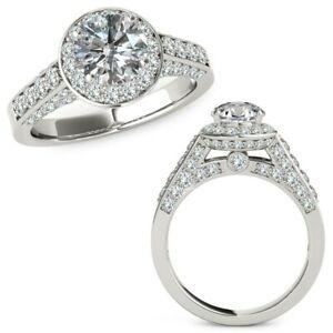 1.25 Carat G-H Diamond Fancy Designer Double Halo Wedding Ring 14K White Gold
