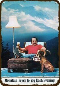 1974 RAINIER BEER & 70s MAN & MOUNTAIN GOAT Vintage-Look-Edge REPLICA METAL SIGN