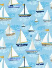 Nautical Fabric - Sailboats on Light Blue - Timeless Treasures YARD