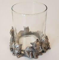 Vintage Seagull Pewter Cats Candle Holder Canadian Vintage 1992