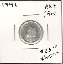 Canada 1941 Silver 10 Cents Dime AU+ Residue