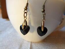 Ohrhaken bronze mit Glasschliff-Herz 10 verschiedene Varianten auswählbar