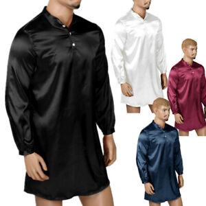 Men's Satin Silk Pajamas Nightwear Long Sleeve Loose Pullover Shirt Sleepwear