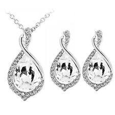 Bridal Teardrop Jewellery Set White Drop Stud Earrings & Necklace S789