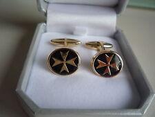 placcato oro gemelli camicia ovali maltese croce con smalto nero a barretta