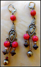 Gorgeous 70's Vintage HIPPIE SILVER CORAL BEADS Earrings RARE COLLECTOR WOW-WEE!
