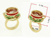 R191 Betsey Johnson Exquisite Little Tea Party Tea Coffee Cup Ring US