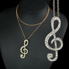 Silver/Gold Crystal Music Note Rhythm Long Sweater Chain Necklace Charm Pendant