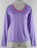 Avia Sz L Heather Purple Magenta 100% Polyester Long Sleeve Thumbhole Top I331
