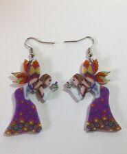 Fairy flower purple  acrylic earrings   2 sideded c8