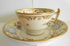 ANTIQUE  EARLY 19TH CENTURY RIDGWAY BLUE FLORAL CUP AND SAUCER