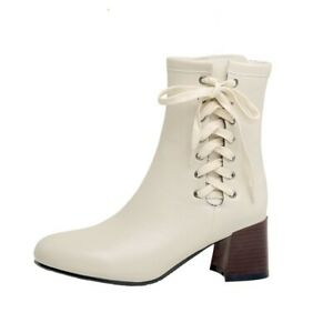 New Punk Style Women Fashion Thick Heel Pointed Toe Lace-Up Ankle Boots Oversize