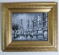 BURNETT MID CENTURY OIL PAINTING OF PARIS SCENE,  CANVAS,  RARE BLACK AND WHITE