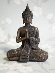Cold Cast Bronze Buddha Statue Home Decor Ornament 19cm High