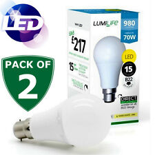 2x 1000lm High Lumen LED b22 BC a Baionetta Cappuccio GLS Lampadina Cool Luce Del Giorno Bianco 850 12w