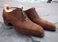 Handmade Men's Brown Suede Cap Toe Lace Up Dress/Formal Oxford Shoes