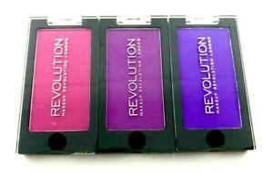 MAKEUP REVOLUTION 3x Mono Eyeshadow - SET OF 3 Pink Purple Violet Matte Shimmer