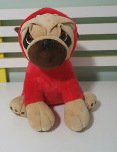 PUG DOG PLUSH TOY IN RED CHRISTMAS OUTFIT XMAS DOG STUFFED ANIMAL 30CM