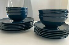 18-Piece IKEA FÄRGRIK Dinnerware Set, Dark Blue Turquoise