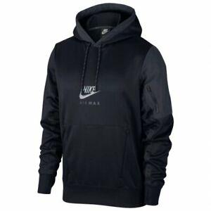 Nike Men's Sportswear Air Max Taped Hoodie CU0115 010 Black/Grey Size Small