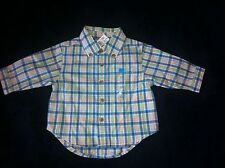 The Childrens PLace 0-3 Months Blue Green Plaid Long Sleeve Button Down NWT