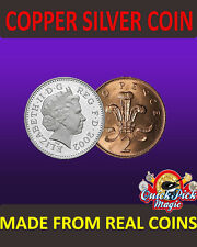 UK COPPER SILVER COIN 10p - 2p / MADE FROM REAL COINS! CLOSE UP MAGIC TRICK!