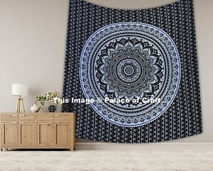 Indian Ethnic Bedspread Silver Ombre Mandala King Wall Hanging Tapestry Hippie