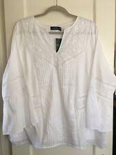 NWT $135 Lauren Ralph Lauren Peasant Blouse Boho TOP Embroidered Plus Sz 2X Whit