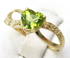 SYJEWELLERY 9CT YELLOW GOLD NATURAL HEART CUT PERIDOT & DIAMOND RING SIZE N R975