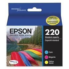 6 Pack of NEW Genuine SEALED EPSON 220  C M Y  Ink Cartridges *2019*