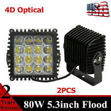 2X 80W Flood Square LED Work Light 5.3'' Fits Jeep Chevrolet Driving Offroad 4D+
