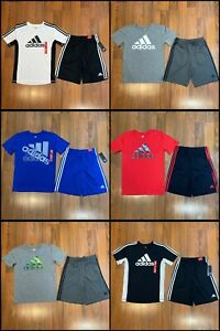 adidas Youth Boy 2pc Set T-shirt Shorts Size S 8, M 10/12, L 14/16, XL 18/20 New
