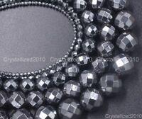 "Black Hematite Gemstone Faceted Round Beads 2mm 3mm 4mm 6mm 8mm 10mm 12mm 15.5"""