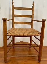 Colonial Carved Antique Amish Primitive Arm Chair Wood Post Folk Very Old Throne