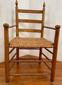 Colonial Carved Antique Amish Primitive Arm Chair Wood Carver Folk 1750's Ash