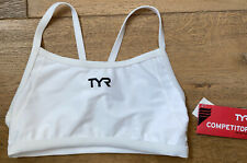 TYR Womens XL White Top Thin Strap Exercise Work Out Bra USA Made COMPETITOR New