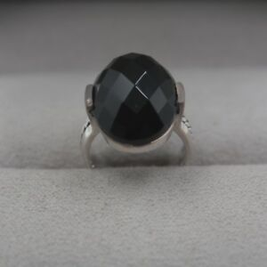 New Solid 925 Sterling Silver w/ Natural Oval Faced Black Agate Ring Size 4-10