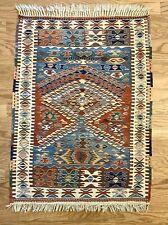 """Antique Kelim Handwoven Wool Rug 33"""" x 44"""", pre-Wwii"""