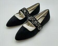 Bettye Muller Embroidered Strap Pointed Toe Black Velvet Shoes Women's US 7 NEW