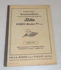Catalogo Ricambi Fella Pony-Binder P1 Dx Stato 1956